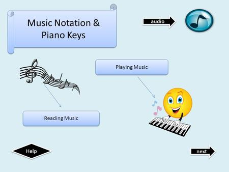 Music Notation & Piano Keys next Help Reading Music Playing Music audio.