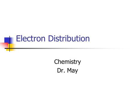 Electron Distribution Chemistry Dr. May. Orbitals And Suborbitals atom 1s2s 2p3s 3p4s.