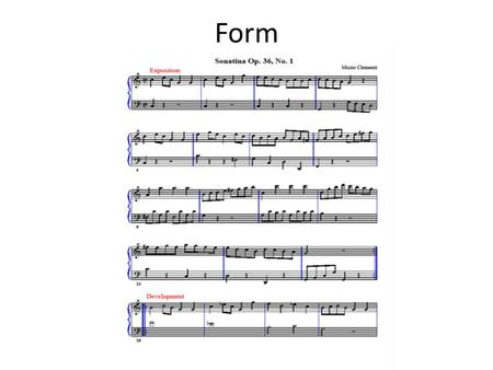 Form. Form p. 2 C Major Triad, Meas. 1-2 C Major 5 Finger Pattern, m. 2-3.