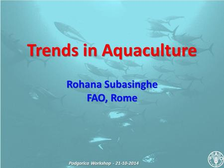 Podgorica Workshop - 21-10-2014 Trends in Aquaculture Rohana Subasinghe FAO, Rome.