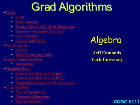 Algebra Jeff Edmonds York University COSC 6111 Fields GCD Powers mod p Fermat, Roots of Unity, & Generators Z mod p vs Complex Numbers Cryptography Other.