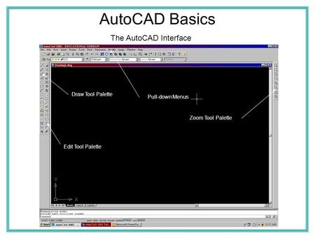 AutoCAD Basics The AutoCAD Interface Draw Tool Palette Pull-down Menus