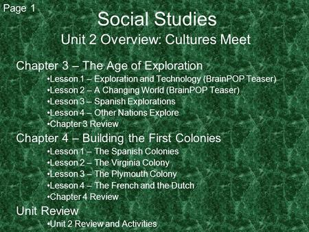 Unit 2 Overview: Cultures Meet