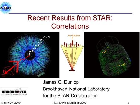 Recent Results from STAR: Correlations James C. Dunlop Brookhaven National Laboratory for the STAR Collaboration March 20, 2009 1 J.C. Dunlop, Moriond.