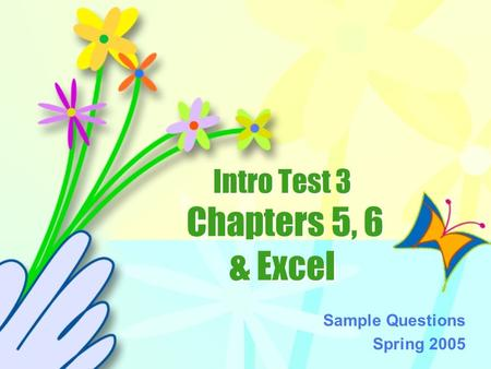Intro Test 3 Chapters 5, 6 & Excel Sample Questions Spring 2005.