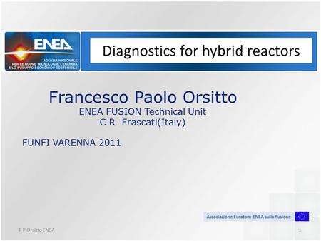 F P Orsitto ENEA1 Diagnostics for hybrid reactors Francesco Paolo Orsitto ENEA FUSION Technical Unit C R Frascati(Italy) FUNFI VARENNA 2011.