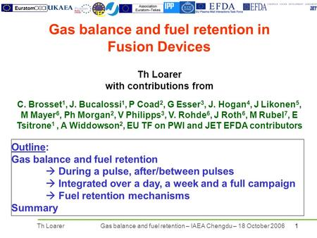 1Th LoarerGas balance and fuel retention – IAEA Chengdu – 18 October 2006 TEC Euratom Th Loarer with contributions from C. Brosset 1, J. Bucalossi 1, P.