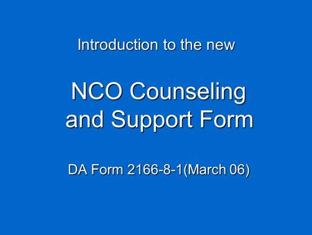 NCO Counseling and Support Form DA Form (March 06)