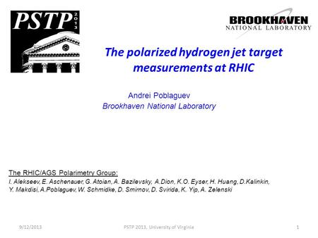 The polarized hydrogen jet target measurements at RHIC Andrei Poblaguev Brookhaven National Laboratory The RHIC/AGS Polarimetry Group: I. Alekseev, E.