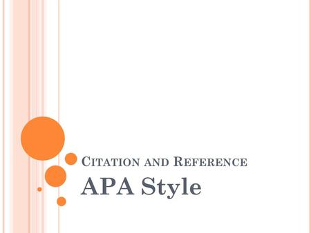 Citation and Reference