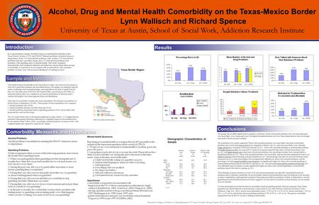 Alcohol, Drug and Mental Health Comorbidity on the Texas-Mexico Border Lynn Wallisch and Richard Spence University of Texas at Austin, School of Social.