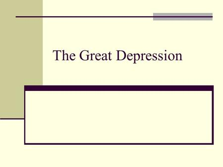 The Great Depression. Defining Depression What is an economic depression?