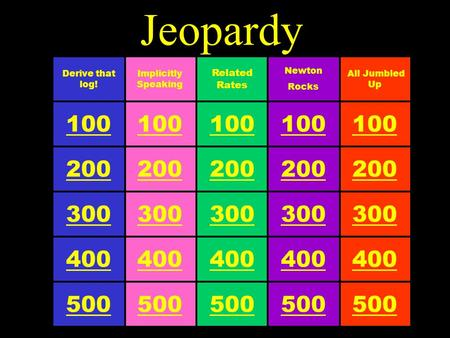 Jeopardy 100 Related Rates 500 300 200 400 100 Implicitly Speaking 500 300 200 400 100 Derive that log! 500 300 200 400 100 All Jumbled Up 500 300 200.