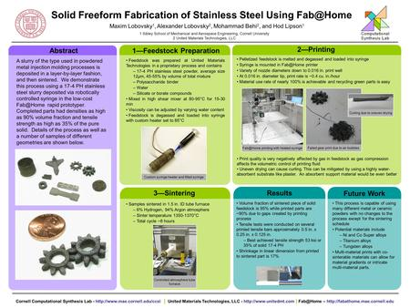 Solid Freeform Fabrication of Stainless Steel Using Maxim Lobovsky 1, Alexander Lobovsky 2, Mohammad Behi 2, and Hod Lipson 1 1 Sibley School.