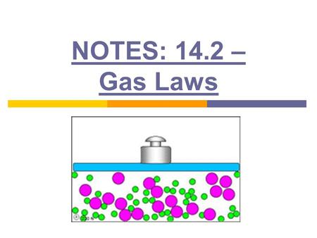 NOTES: 14.2 – Gas Laws. Pressure-Volume Relationship: (Boyle's Law) ● Pressure and volume are inversely proportional ● As volume increases, pressure decreases.
