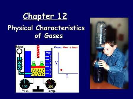 Chapter 12 Physical Characteristics of Gases. Kinetic Molecular Theory  Particles of matter are ALWAYS in motion  Volume of individual particles is.