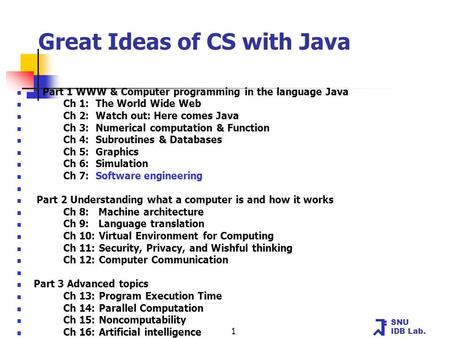SNU IDB Lab. 1 Great Ideas of CS with Java Part 1 WWW & Computer programming in the language Java Ch 1: The World Wide Web Ch 2: Watch out: Here comes.