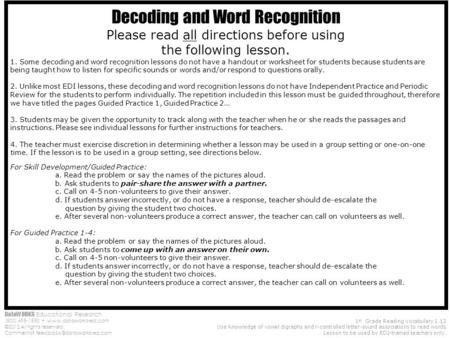 DataWORKS Educational Research (800) 495-1550  ©2012 All rights reserved. Comments? 1 st Grade Reading Vocabulary.