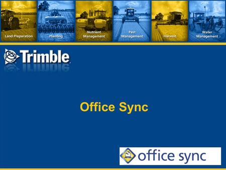 Office Sync. What Does Office Sync Do?  Exchange data between field & office without a USB flash drive.  Planned and completed jobs  A/B guidance lines.