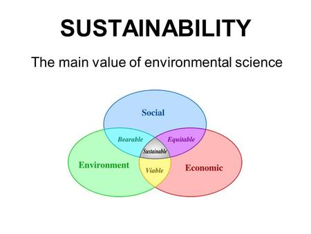SUSTAINABILITY The main value of environmental science.