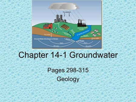 Chapter 14-1 Groundwater Pages 298-315 Geology. Groundwater Factors that affect the amount of seepage of water into the ground are: 1.Type of rock or.