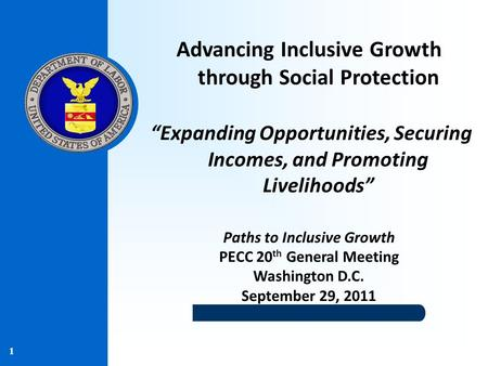 "1 Advancing Inclusive Growth through Social Protection ""Expanding Opportunities, Securing Incomes, and Promoting Livelihoods"" Paths to Inclusive Growth."