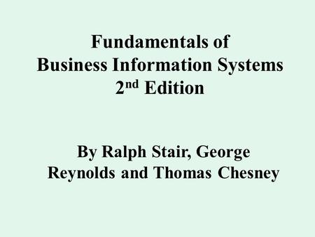 Summary: Fundamentals of Business Information Systems
