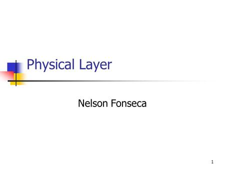 1 Physical Layer Nelson Fonseca.
