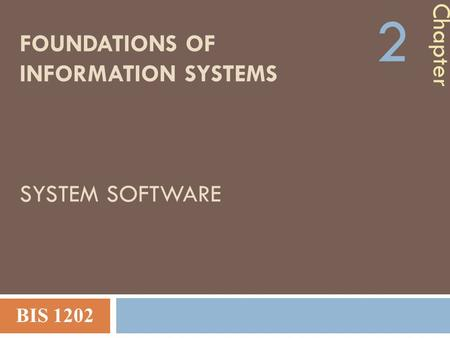 FOUNDATIONS OF INFORMATION SYSTEMS SYSTEM SOFTWARE Chapter 2 BIS 1202.