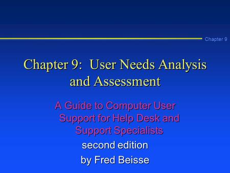 Chapter 9: User Needs Analysis and Assessment