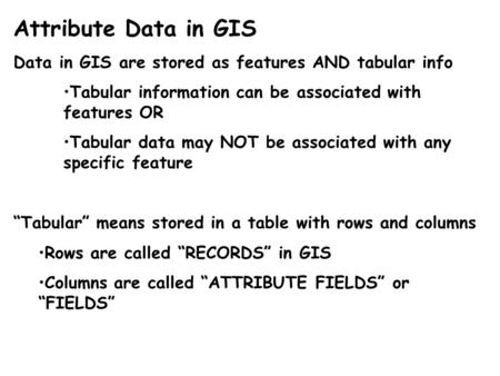 Attribute Data in GIS Data in GIS are stored as features AND tabular info Tabular information can be associated with features OR Tabular data may NOT be.