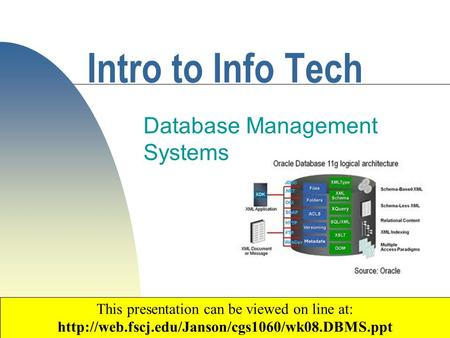 1 Intro to Info Tech Database Management Systems Copyright 2003 by Janson Industries This presentation can be viewed on line at: