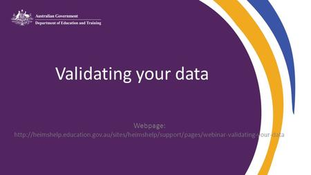 Validating your data Webpage:
