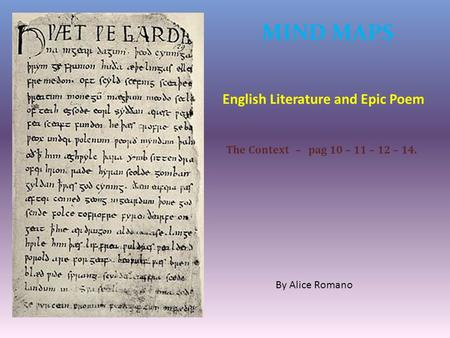 MIND MAPS English Literature and Epic Poem