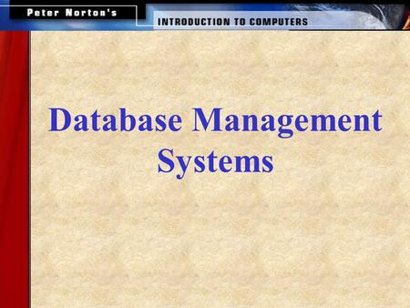 Database Management Systems. This lesson includes the following sections  Databases and Management Systems Working with a Database Enterprise Software.