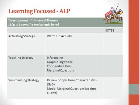 Learning Focused - ALP Development of Universal Themes