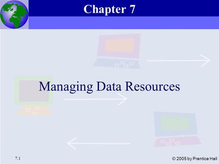 Essentials of Management Information Systems, 6e Chapter 7 Managing Data Resources 7.1 © 2005 by Prentice Hall Managing Data Resources Chapter 7.