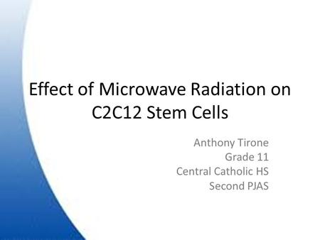 Effect of Microwave Radiation on C2C12 Stem Cells