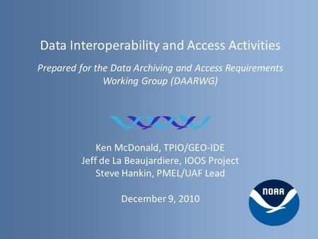 Data Interoperability and Access Activities Prepared for the Data Archiving and Access Requirements Working Group (DAARWG) Ken McDonald, TPIO/GEO-IDE Jeff.