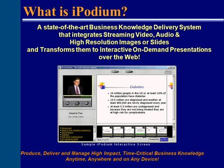 A state-of-the-art Business Knowledge Delivery System that integrates Streaming Video, Audio & High Resolution Images or Slides and Transforms them to.