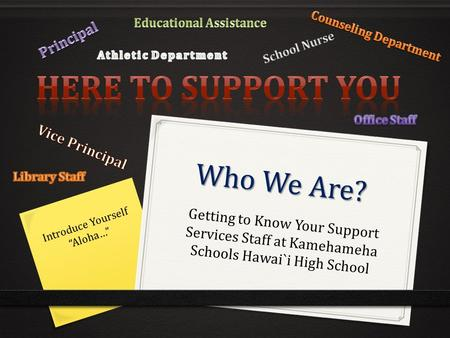 "Who We Are? Getting to Know Your Support Services Staff at Kamehameha Schools Hawai`i High School Introduce Yourself ""Aloha…"""