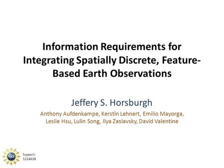 Information Requirements for Integrating Spatially Discrete, Feature- Based Earth Observations Jeffery S. Horsburgh Anthony Aufdenkampe, Kerstin Lehnert,