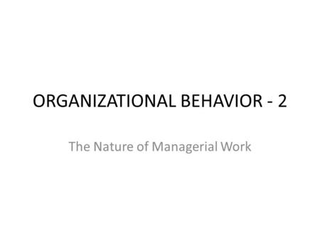 the nature of managerial work pdf