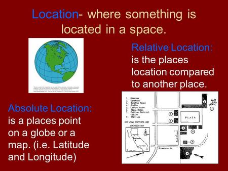 Location- where something is located in a space. Absolute Location: is a places point on a globe or a map. (i.e. Latitude and Longitude) Relative Location: