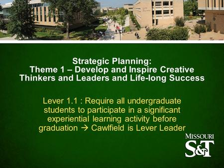 Strategic Planning: Theme 1 – Develop and Inspire Creative Thinkers and Leaders and Life-long Success Lever 1.1 : Require all undergraduate students to.