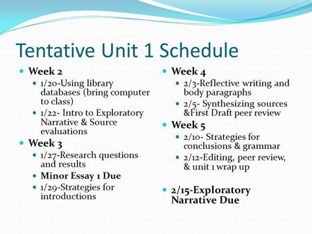 Tentative Unit 1 Schedule Week 2 1/20-Using library databases (bring computer to class) 1/22- Intro to Exploratory Narrative & Source evaluations Week.