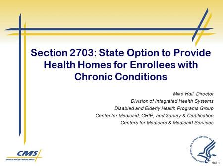 Section 2703: State Option to Provide Health Homes for Enrollees with Chronic Conditions Mike Hall, Director Division of Integrated Health Systems Disabled.