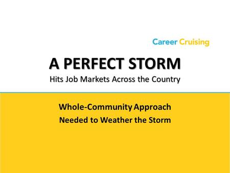 A PERFECT STORM Hits Job Markets Across the Country Whole-Community Approach Needed to Weather the Storm.