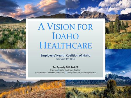 A V ISION FOR I DAHO H EALTHCARE Ted Epperly, MD, FAAFP | Chairman | Idaho Healthcare Coalition | President and Chief Executive Officer | Family Medicine.