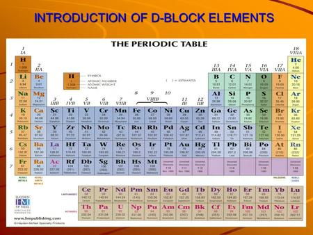INTRODUCTION OF D-BLOCK ELEMENTS. Why are they called d-block elements? Their last electron enters the d-orbital.